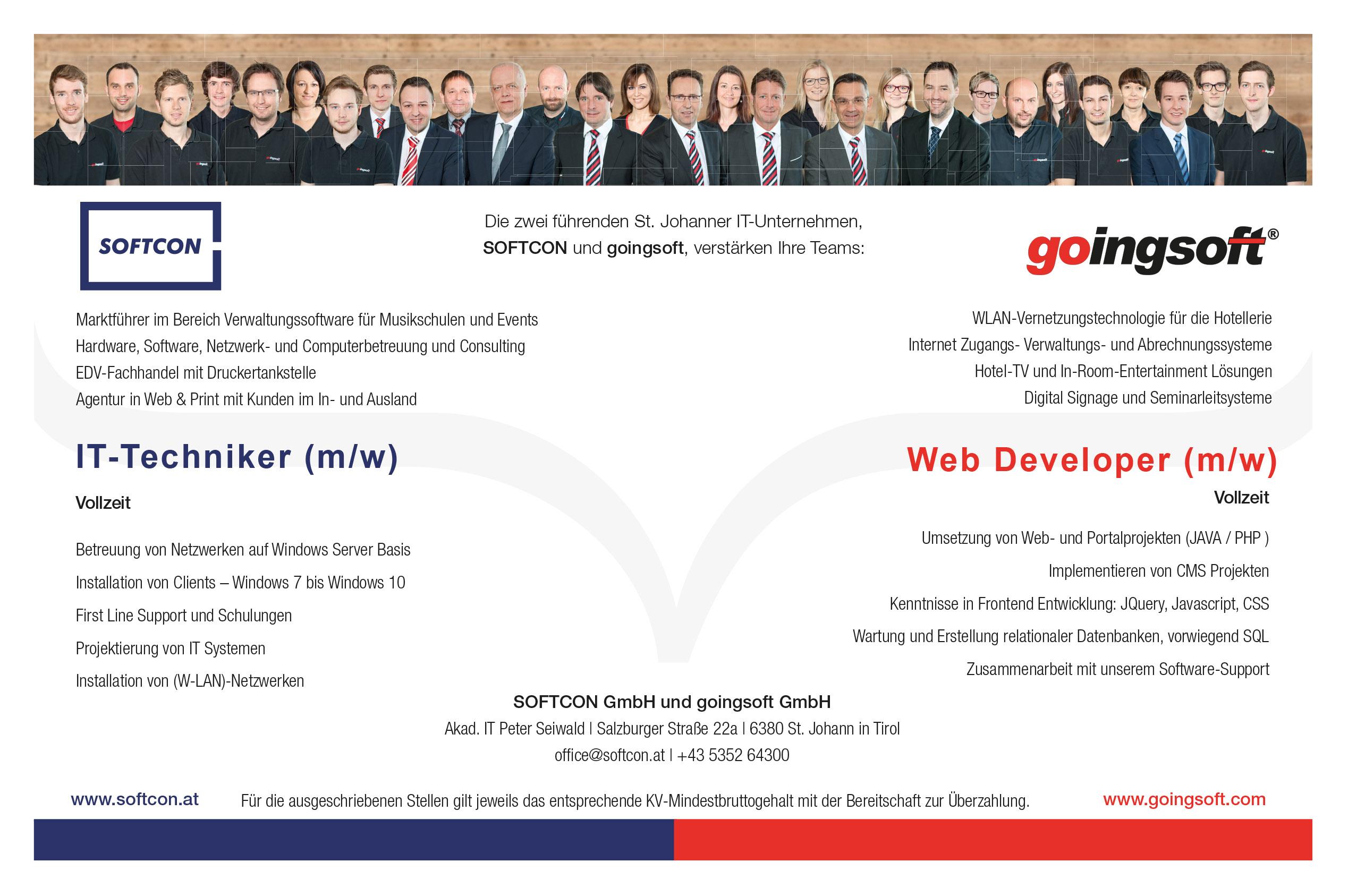 Die zwei führenden St. Johanner IT- Unternehmen, SOFTCON und goingsoft, verstärken Ihre Teams