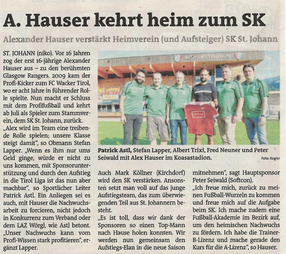 Alexander Hauser kehrt heim zum SK